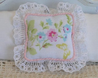 1:12 Pillow - English Garden and Lace- Scale Miniature Dollhouse - Romantic Shabby Cottage **Free Shipping**