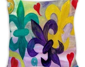 Mardi Gras Fleur de lis art soft textured twill or outdoor throw pillow double sided with insert from my art.