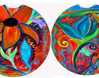 Abstract retro flowers floral Art Car coasters from my art