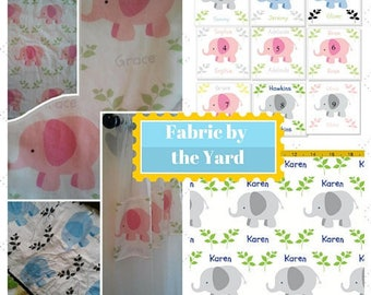 Elephant Fabric by the Yard - MINI   Cute Baby, Kids Fabric, Upholstery, Quilting, Cotton, Minky, Fleece, Organic Cotton, Can PERSONALIZE