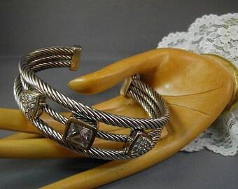 Vintage Cable Bracelet Silvertone and Rhinestone
