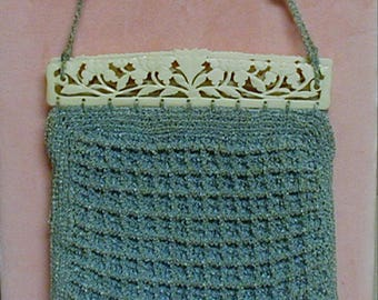 Vintage Crocheted Purse With Carved Bone Frame
