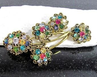Vintage HOLLYCRAFT PASTEL Rhinestone Pin Earrings Demi Designer Signed