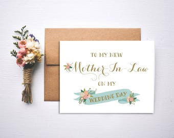Wedding Day Card // To my Mother In Law on my wedding day // In Law Card // mother of the bride // mother of the groom // Wedding Day Card