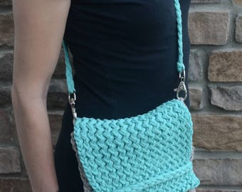 Teal and Grey Cross body Purse, T-shirt Yarn Purse, Knit Purse, Knit Cross body Purse, Color Block Purse