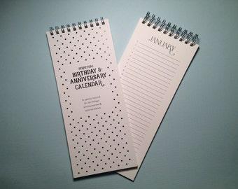 Mini Perpetual Birthday Calendar - Black and White Polkadot
