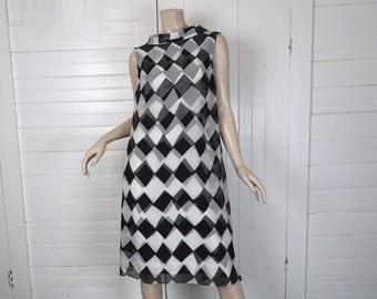 60s Mod Harlequin Dress- 1960s Black & White Diamond Print- Bow- Small