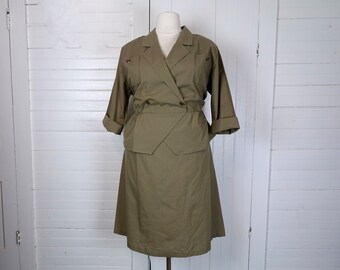 90s Military Style Dress in Olive Green- 1990s Uniform Look- Punk- Plus Size Peplum Dress