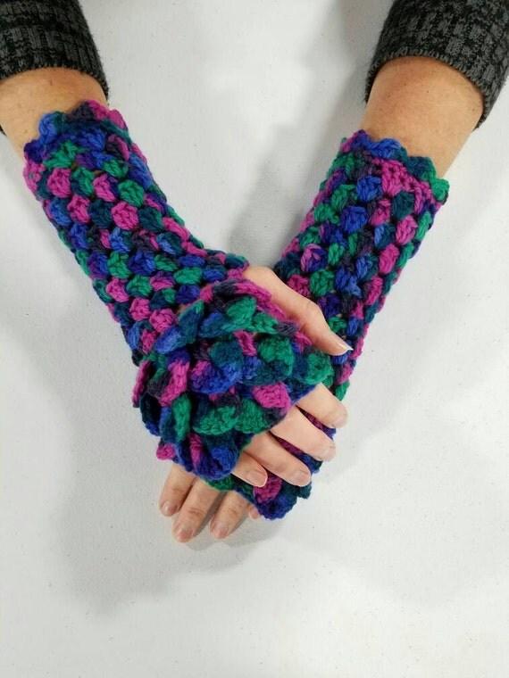 Crochet Dragon Gloves, Dragon Scale Gloves, Crocodile Gloves, Dragon Scale Arm Warmers, Gauntlet Gloves, Mermaid Scale, Fingerless Gloves
