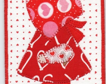 Valentine Sue, A Sunbonnet Sue Quilted Fabric Postcard
