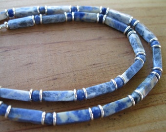 Sodalite, Sterling Silver Necklace, Mens Beaded Necklace, Womens Beaded Necklace, Column Necklace, Stone Necklace, Blue Necklace