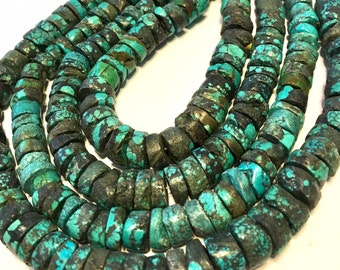 REAL TURQUOISE large heishi full 15 inch long strand great color great deal