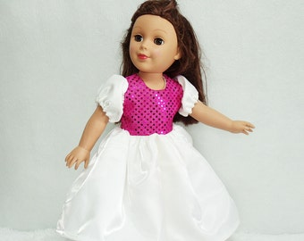 18 inch Doll's Ball Gown, White Satin and Pink Sequin doll dress, 18 inch Fashion Doll's Formal puff sleeve dress, dolls maxi party dress