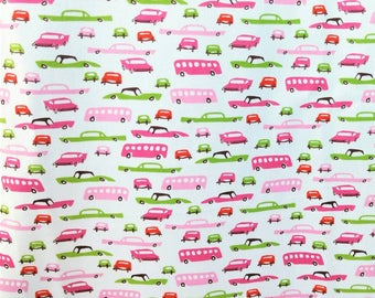 PUL Diaper Cut, Girl Pink Retro Cars Diaper Fabric 20x20, Waterproof Polyurethane Fabric