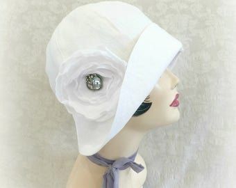 Women's Linen Cloche - White Linen Cloche - Diner En Blanc Hat - Linen Cloche Hat - Flapper Summer Cloche - White Summer Hats - Rose Brooch