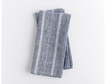 Blue stripes linen napkins. Set of 2. Super fine yarn dyed. Blue and grey tones. Free shipping to US orders.