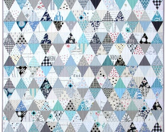 Modern Patchwork Quilt ~ Triangles in Blue and White
