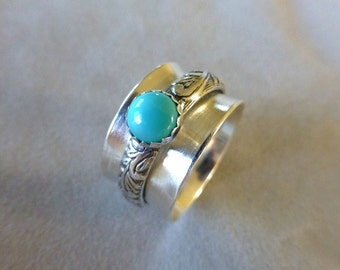 Sterling Spinner Ring, Wide Band Ring, Meditation Ring, Argentium Sterling and Turquoise Spinner Ring, Size 7-1/4