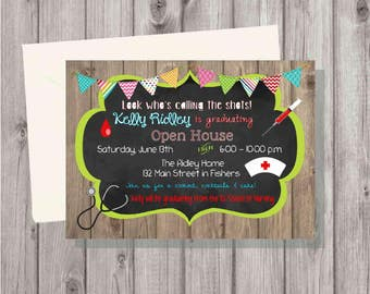 Digital Rustic Chalkboard Colorful Nurse Graduation Party Invitation You Print Printable