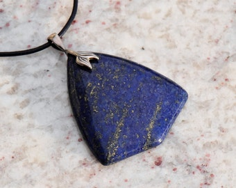 Lapis Lazuli Shield Pendant Necklace with Sterling Silver Twin Leaf Bail on Black Leather Cord with Sterling Silver Lobster Clasp