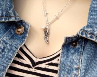 Cross Necklace, Sideways Cross Necklace, Y Drop Necklace, Wing Necklace, Charm Necklace