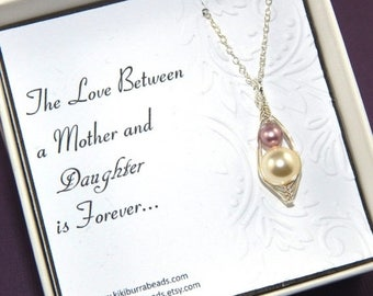 Mothers Day Sale Baby Mother And Daughter Necklace, Mother and Daughter Two Peas In A Pod Necklace, Mothers Necklace, Baby Shower Gift