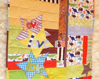 "Baby Boy Quilt ""Love Love Love""  Wall Hanging, 42"" Wide x 50"" LongCotton Patchwork Quilt Fabric betrueoriginals"