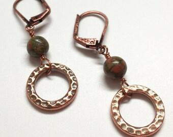 Copper Earrings, Green Earrings, Green and Copper Earrings, Copper & Unakite Earrings