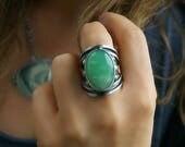 Lost in a Perfect Sky - Chrysoprase Sterling Silver Ring