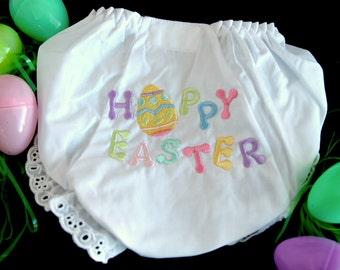 Happy Easter Embroidered Diaper Cover in Sizes 1 - 6. White with Happy Easter on the back.