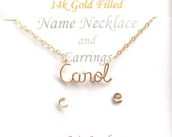 Gold Name Necklace and Matching Initial Studs. Personalized 14k Gold Filled Name Necklace and Post Earrings