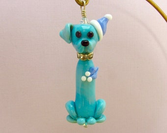 Christmas Dog Ornament or Pendant - Lampwork Glass Bead Creation - SRA