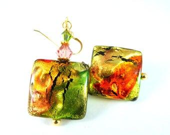 Gold Green Pink Topaz Murano Dangle Earrings, Colorful Venetian Glass Earrings, Square Earrings, Italian Glass Earrings Gold Filled Earrings