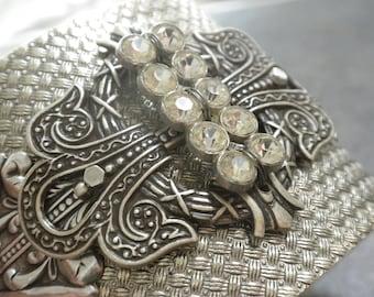 Art Deco Jewelry Rhinestone Bracelet Silver Cuff