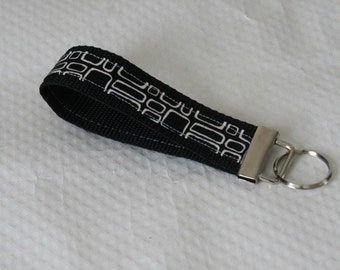 Black Key Chain / Black White Key Fob / Manager Key Chain / Teacher Key Fob / Nurse Keychain / Key Chain Wristlet / Gifts for Under 10