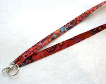 Colorful Kaffe Fassett Designer Fabric Lanyard Breakaway Lanyard ID Badge Holder Clip Key Ring Fob Millifiore Red Cobalt Blue MTO
