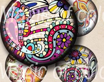 Digital Collage of  Elegant Floral Designs - 63  1x1 Inch Circle  JPG images - Digital  Collage Sheet