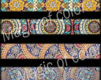 Majolica Strips - 9 1x6 Inch Rectangular  JPG images - Digital  Collage Sheet