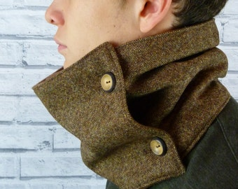 READY TO SHIP Men's Neckwarmer Scarf - Yorkshire Birdseye Tweed, Brown