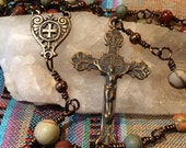 Beautiful Full Size Wire Wrapped Rosary, Jasper and Real Bronze