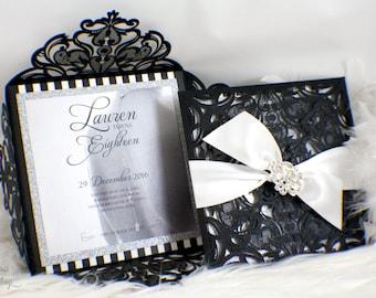 Laser Cut Box Glam Invitation | Broach | Buckle | Lasercut | Elegant | Quince | Black | White | Stripes | Glitter | Fabulous | Sweet 16