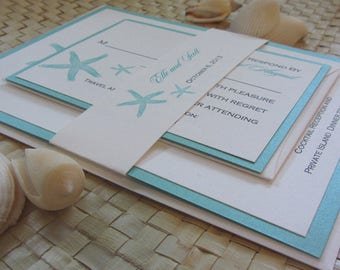 Seafoam Starfish Invitation, Beach Themed Invitation, Starfish Wedding Invitation, Starfish Save the Date, Ocean Themed Wedding Invitation