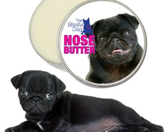 Pug ORIGINAL NOSE BUTTER® Handcrafted All Natural Salve for Dry Dog Noses One Pound (16 oz. Tin) Choice of Fawn, Black or Pug Duo Label