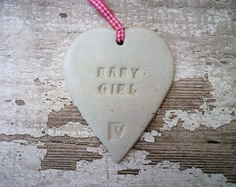 SALE ITEM:- Loveheart Baby Girl Hanger, gift idea, pottery.
