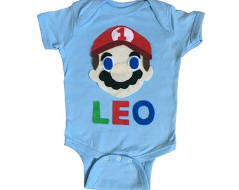 Mario Birthday Bodysuit - Kids Light Blue Baby Onesie - Name and Age - Personalized - Gift