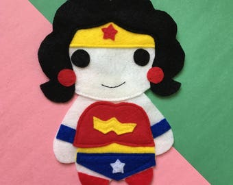 Wonder Girl - Iron On Applique/Patch - Made Out of 100% Recycled Felts