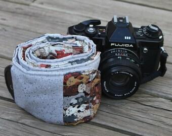 Ready To Ship Extra Long Wide Camera Strap for DSL camera Cat Print With Grey Reverse and  lens cap pocket No Monogram