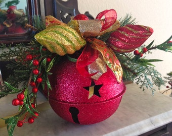 Red Glitter Jingle Bell Table Decoration,Christmas Jingle Bell Decoration,Jingle Bell Centerpiece,Festive Jingle bell with Greenery,Fun Bell