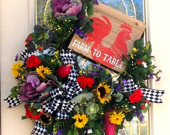 Big and Beautiful From Farm to Table Wreath with Vegetables,Sunflowers,Geraiums,Rooster, Kitchen  Rooster Wreath,Front Door Wreath,Rustic