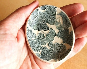 Ceramic GINKGO LEAF Dish - Handmade Small Oval Porcelain Leaf Ring Dish - Gift for Her - Ready To Ship
